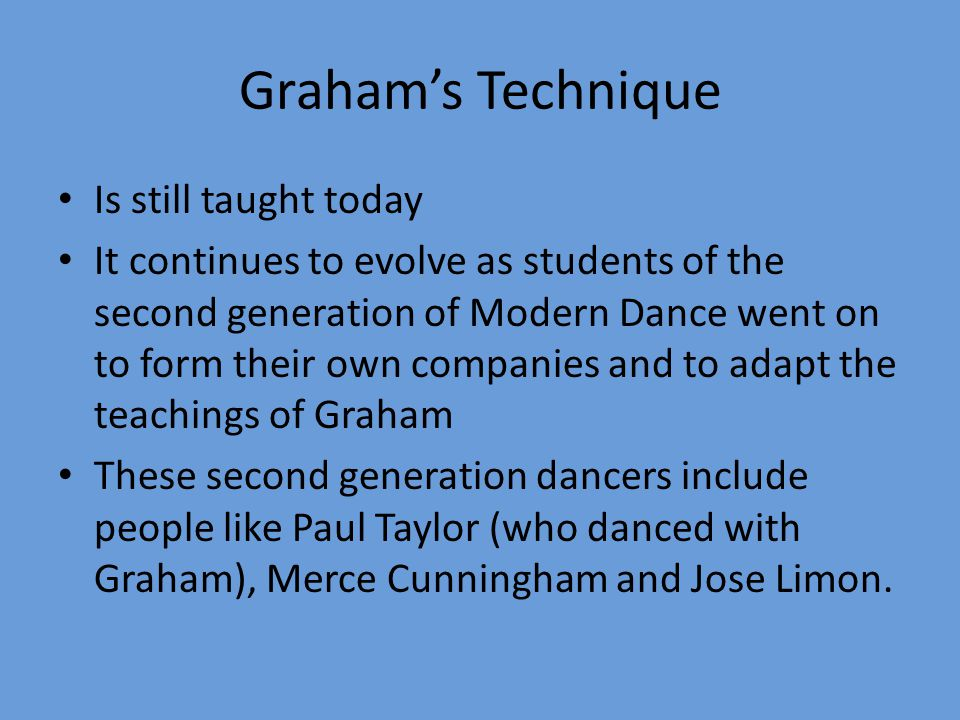 Graham's Technique Is still taught today