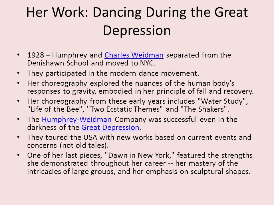 Her Work: Dancing During the Great Depression