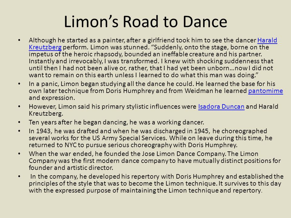 Limon's Road to Dance