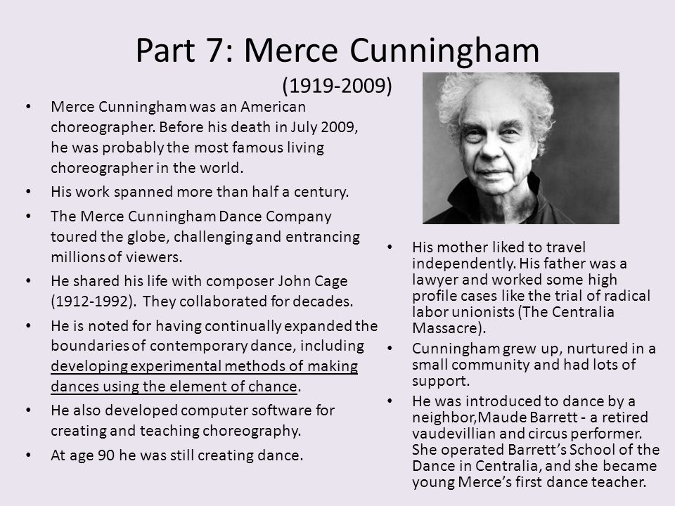 Part 7: Merce Cunningham (1919-2009)
