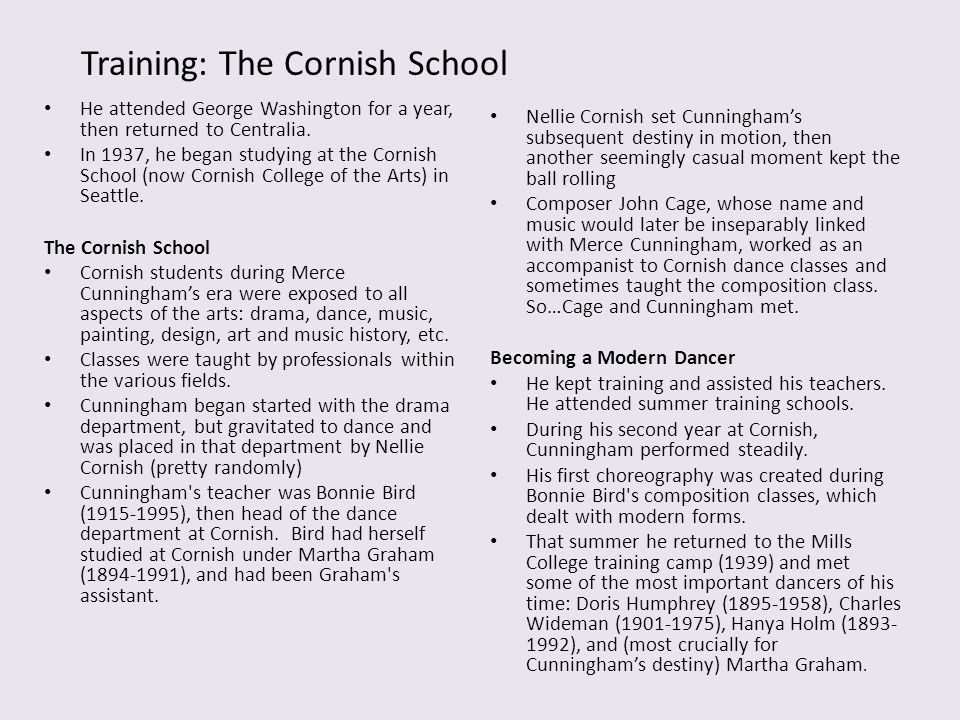 Training: The Cornish School