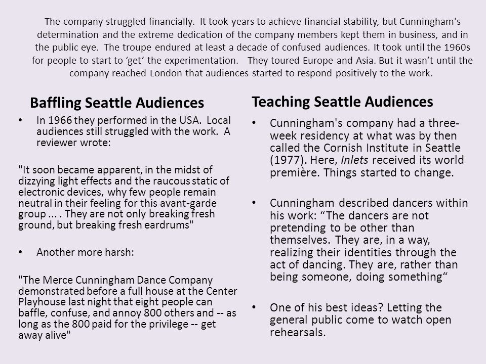 Teaching Seattle Audiences Baffling Seattle Audiences