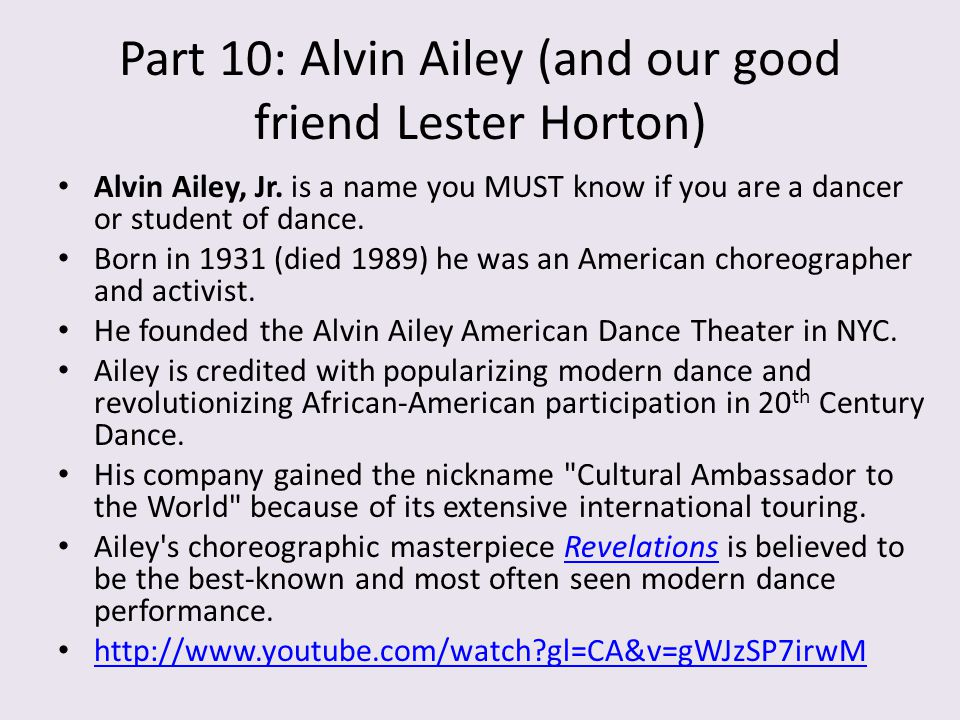 Part 10: Alvin Ailey (and our good friend Lester Horton)
