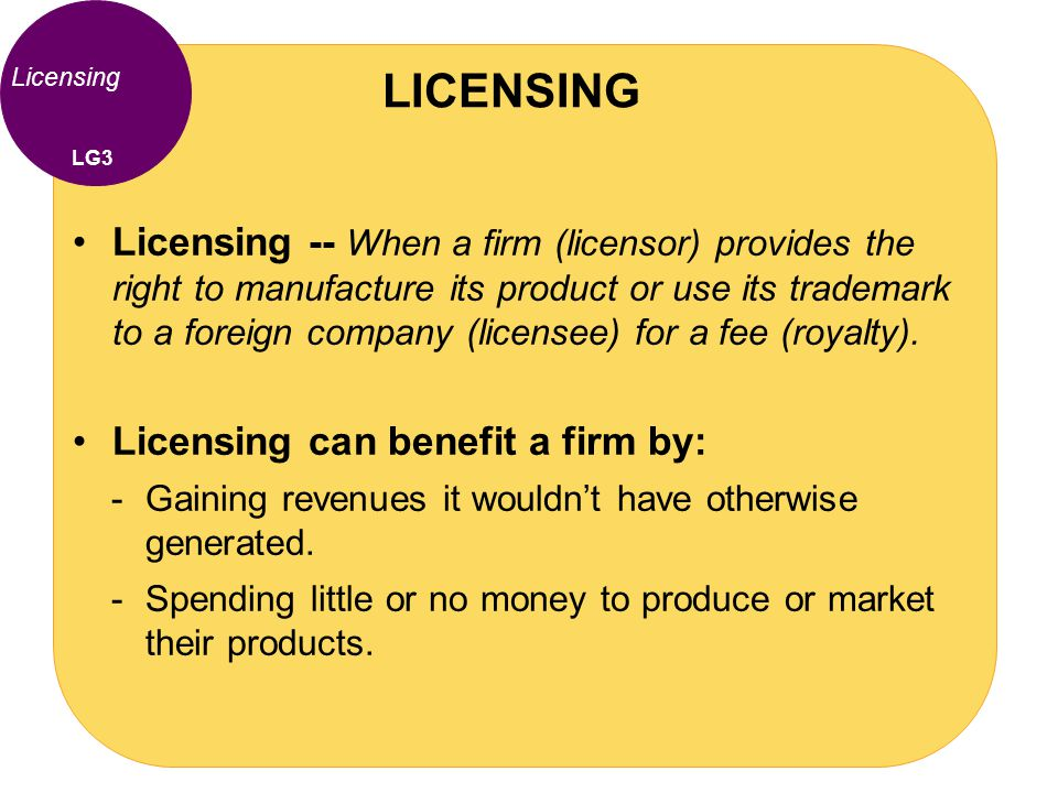 LICENSING Licensing. LG3.