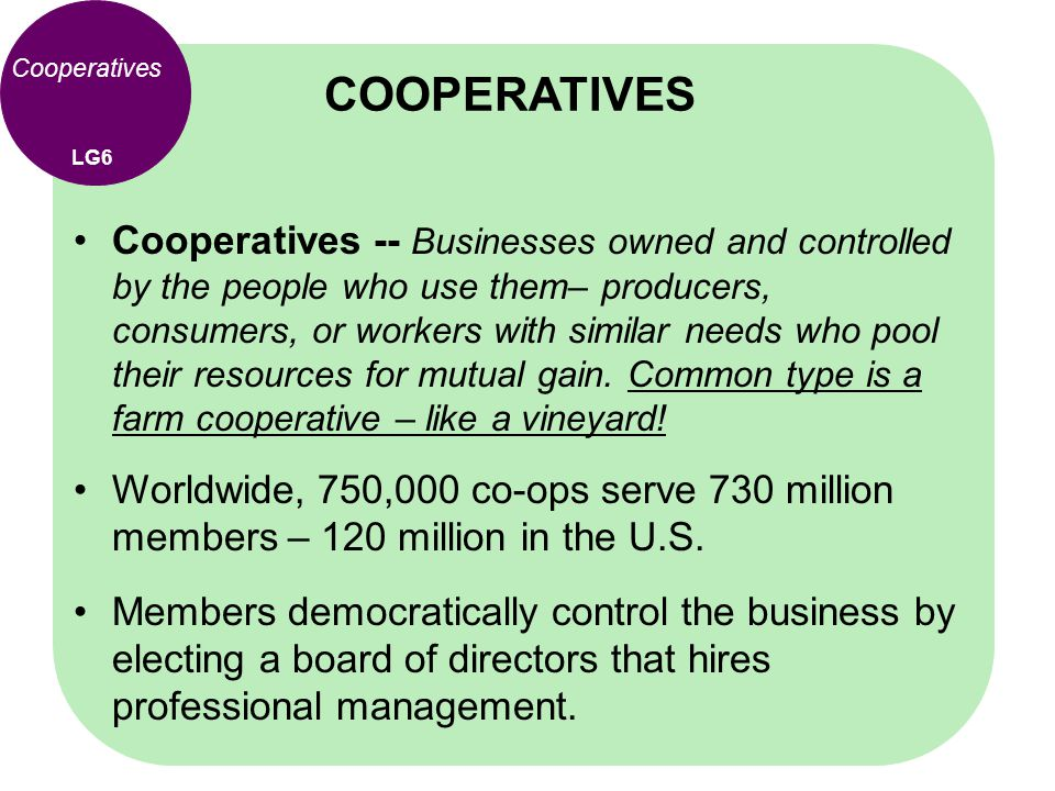 COOPERATIVES Cooperatives. LG6.