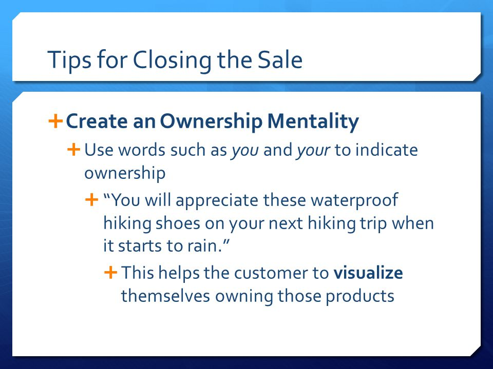 Tips for Closing the Sale