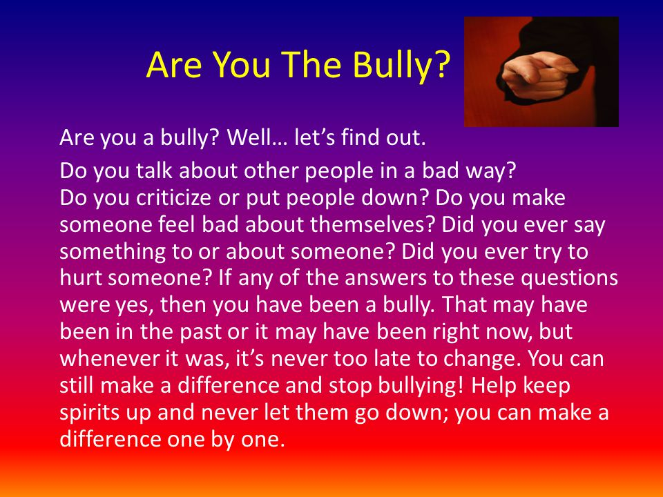 Are You The Bully