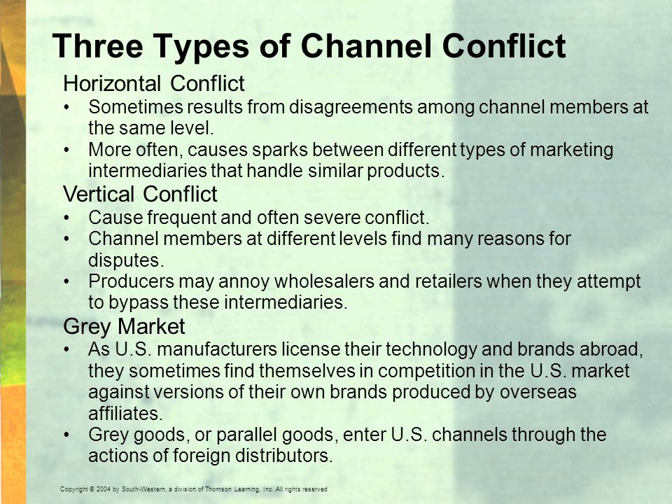 Three Types of Channel Conflict