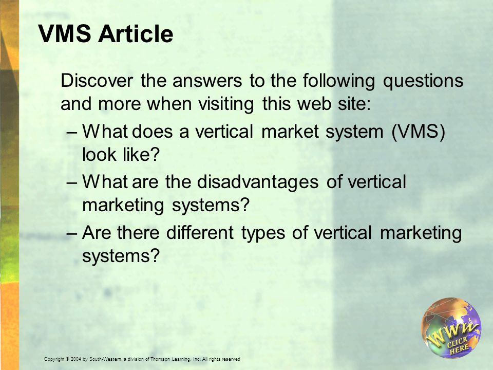 VMS Article Discover the answers to the following questions and more when visiting this web site: