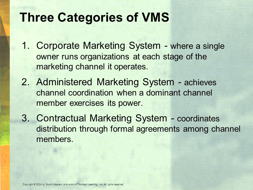 Three Categories of VMS
