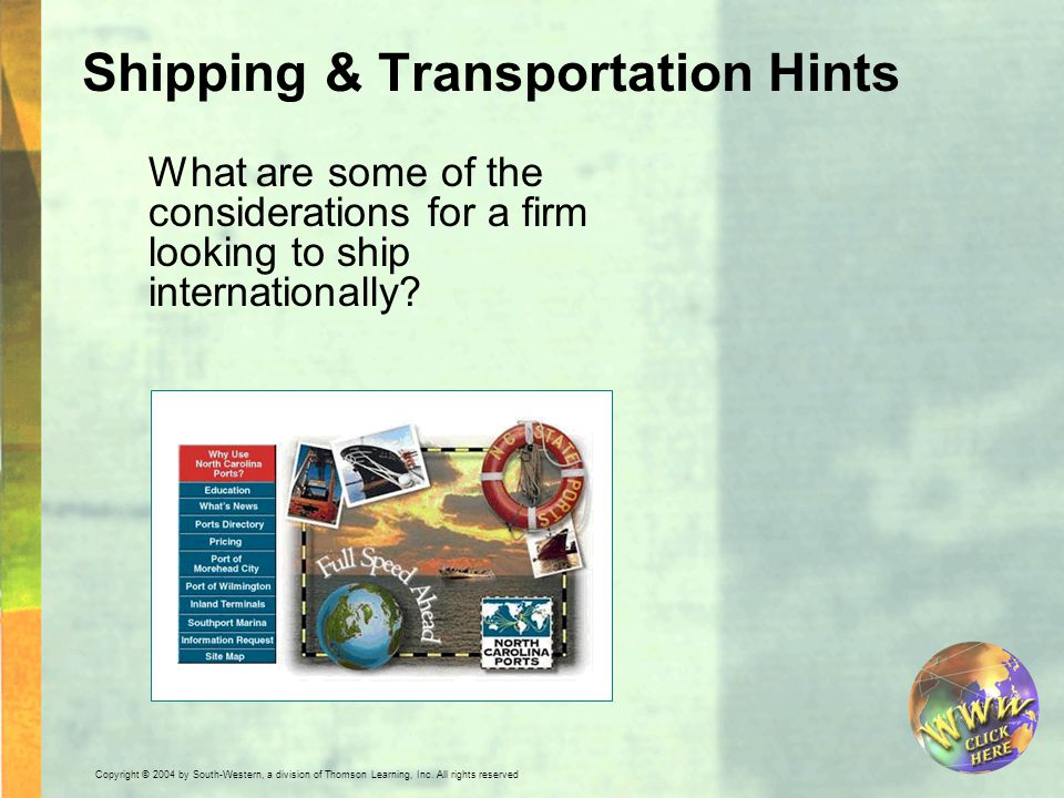 Shipping & Transportation Hints