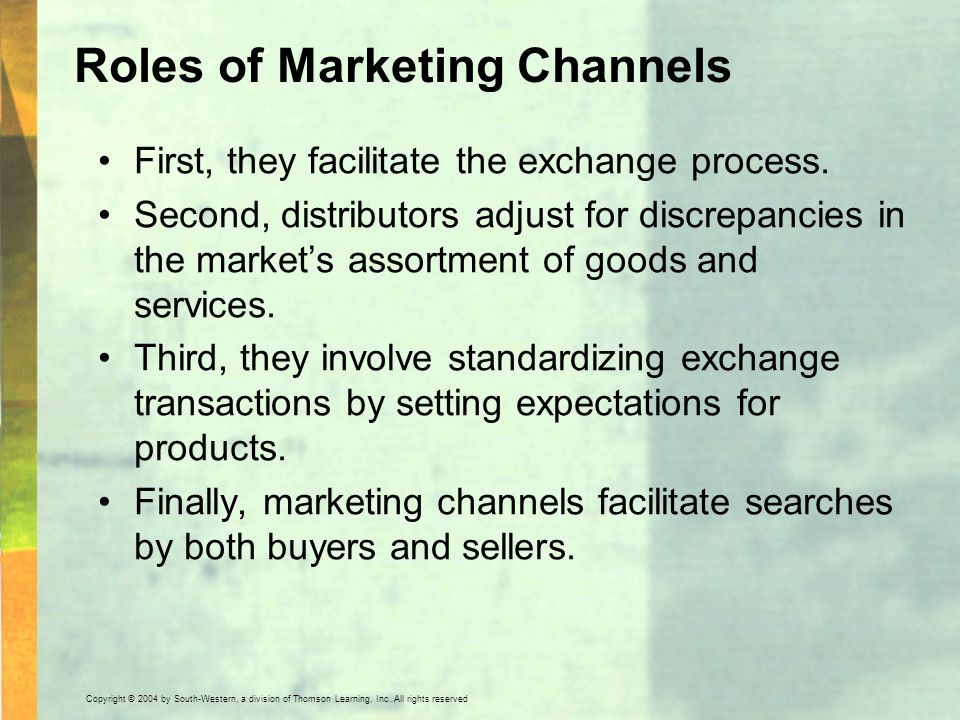 Roles of Marketing Channels