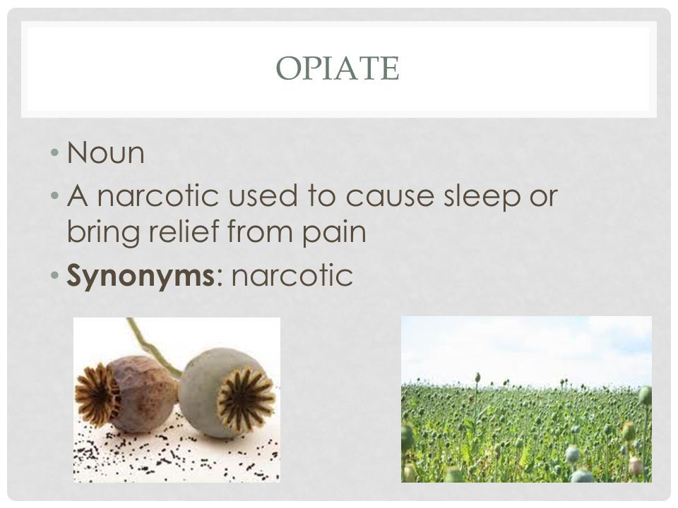 opiate Noun A narcotic used to cause sleep or bring relief from pain
