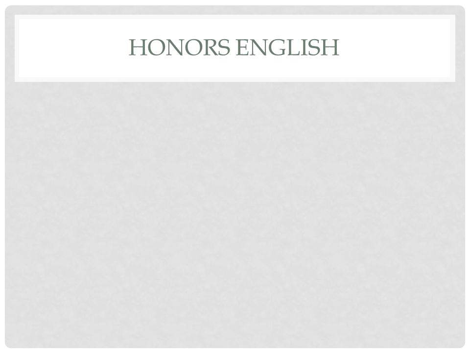 Honors English