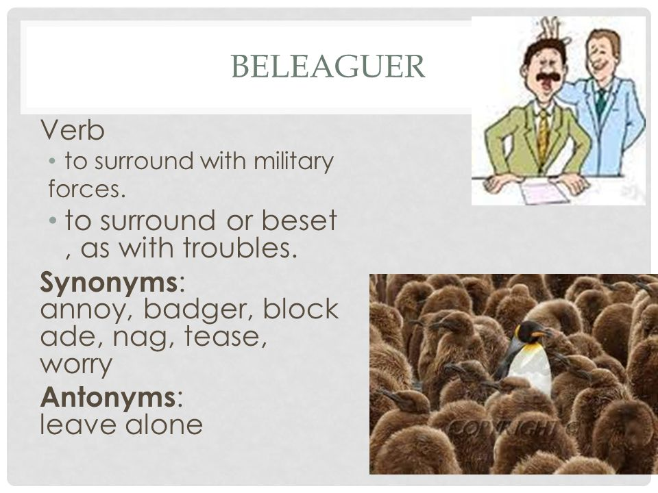 beleaguer Verb to surround or beset, as with troubles.