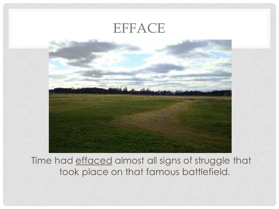 Efface Time had effaced almost all signs of struggle that took place on that famous battlefield.