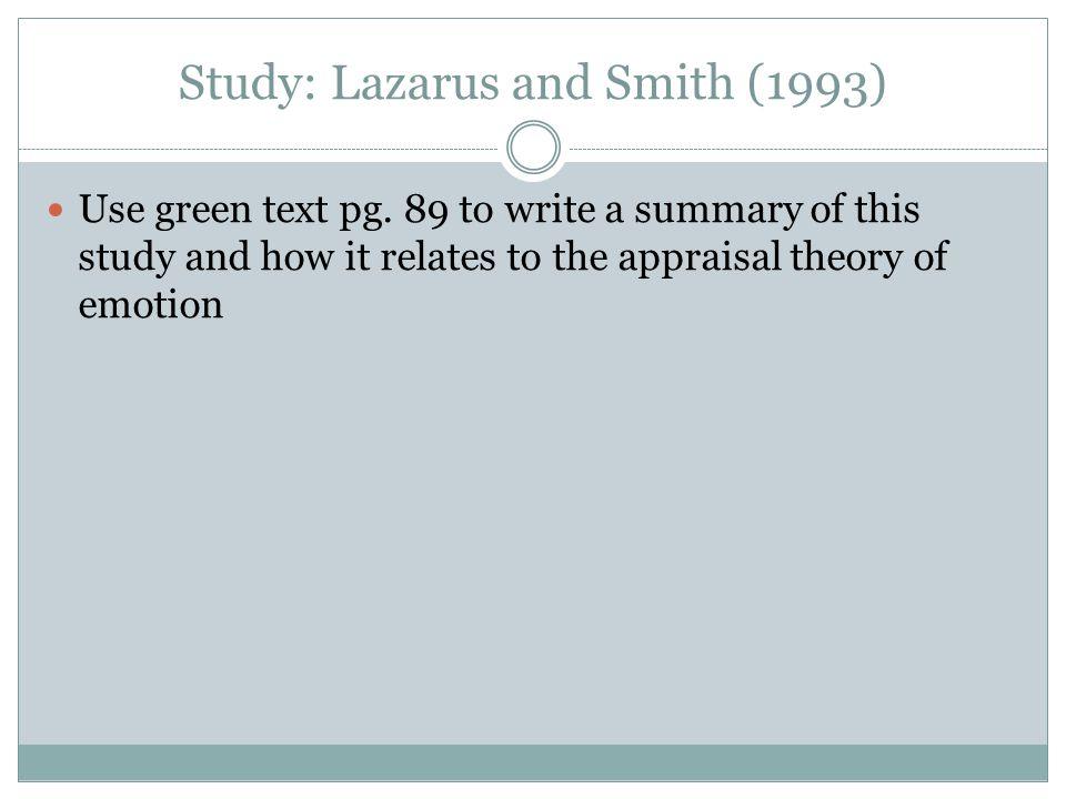 Study: Lazarus and Smith (1993)