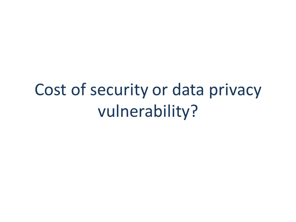 Cost of security or data privacy vulnerability