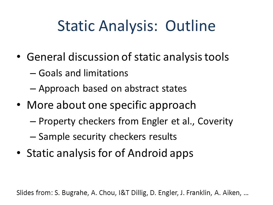 Static Analysis: Outline