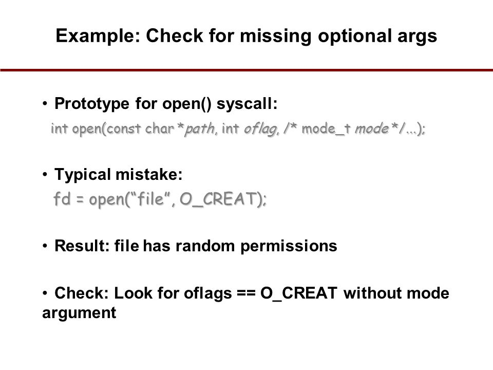 Example: Check for missing optional args