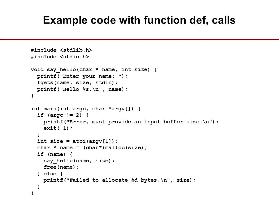 Example code with function def, calls
