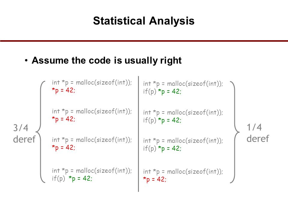 Statistical Analysis Assume the code is usually right 3/4 1/4 deref