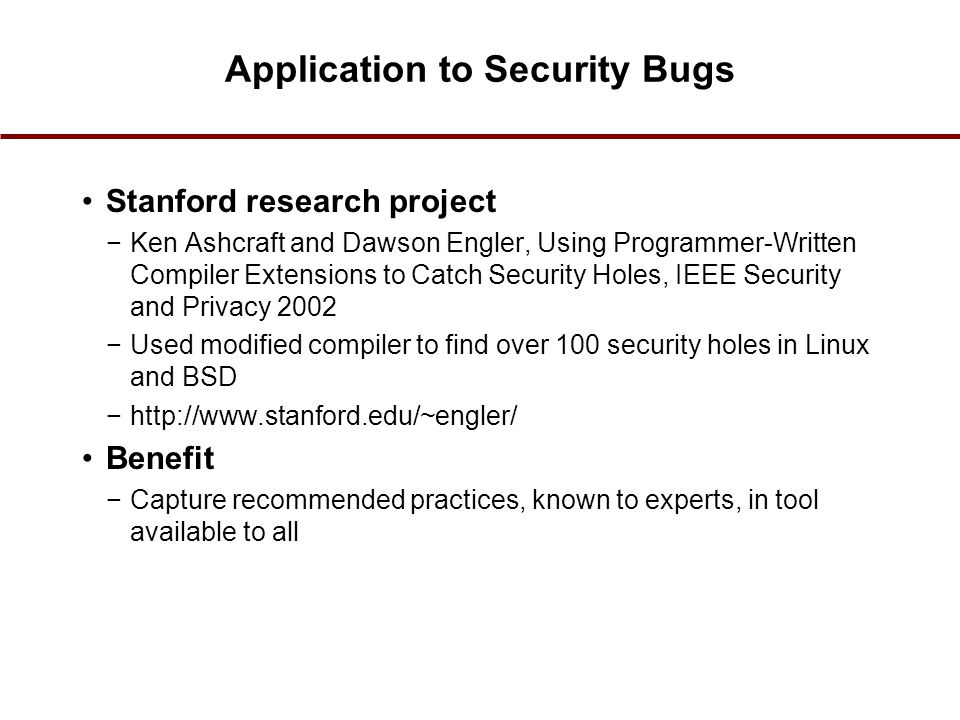 Application to Security Bugs