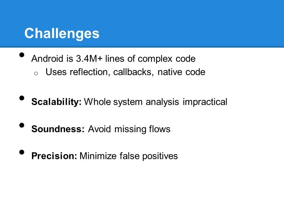 Challenges Android is 3.4M+ lines of complex code