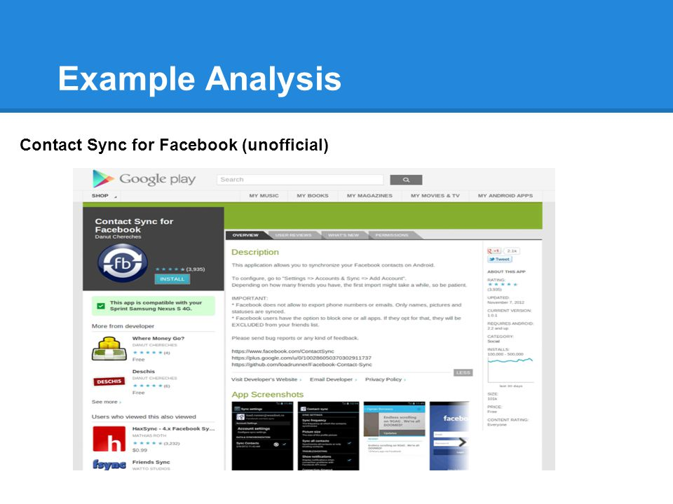 Example Analysis Contact Sync for Facebook (unofficial)