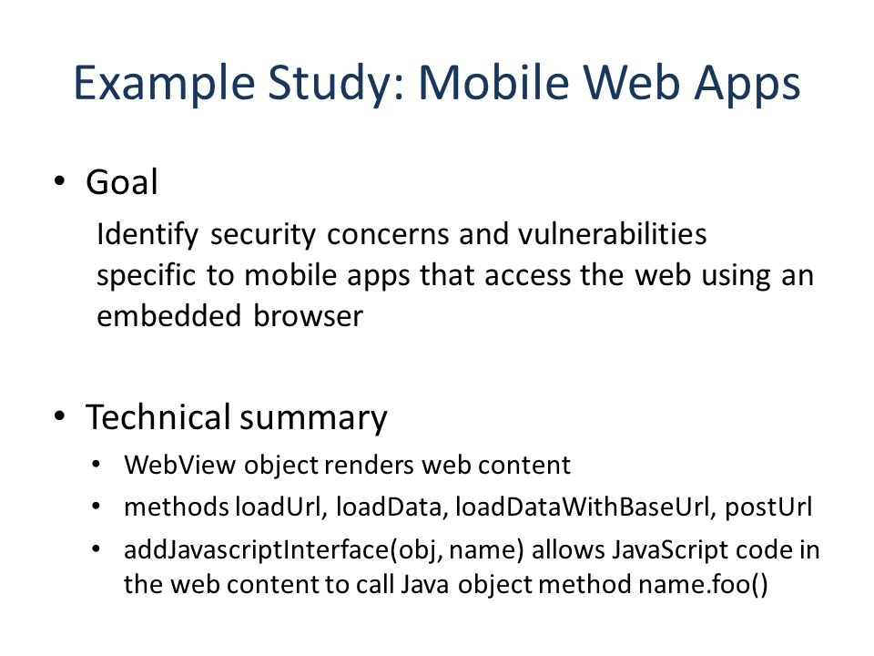 Example Study: Mobile Web Apps