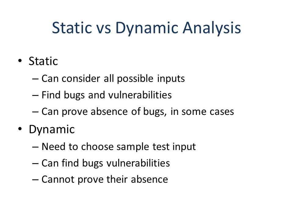 Static vs Dynamic Analysis
