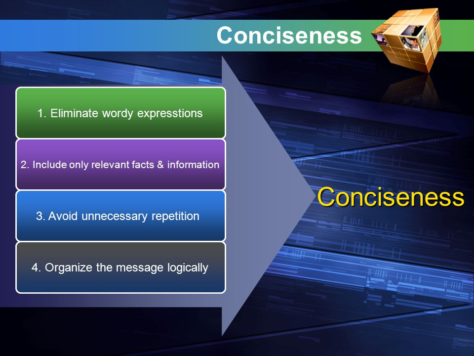 Conciseness Conciseness 1. Eliminate wordy expresstions