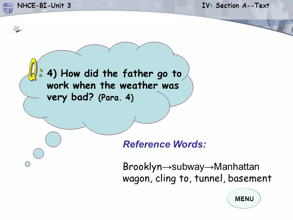 Q: 4) How did the father go to work when the weather was very bad (Para. 4) Reference Words: Brooklyn→subway→Manhattan.