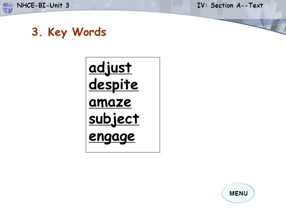 3. Key Words adjust despite amaze subject engage