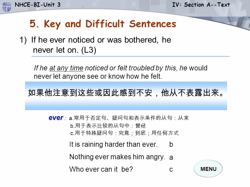 5. Key and Difficult Sentences