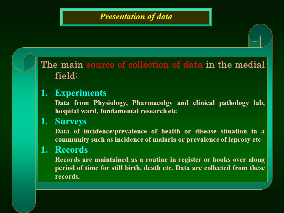 The main source of collection of data in the medial field: