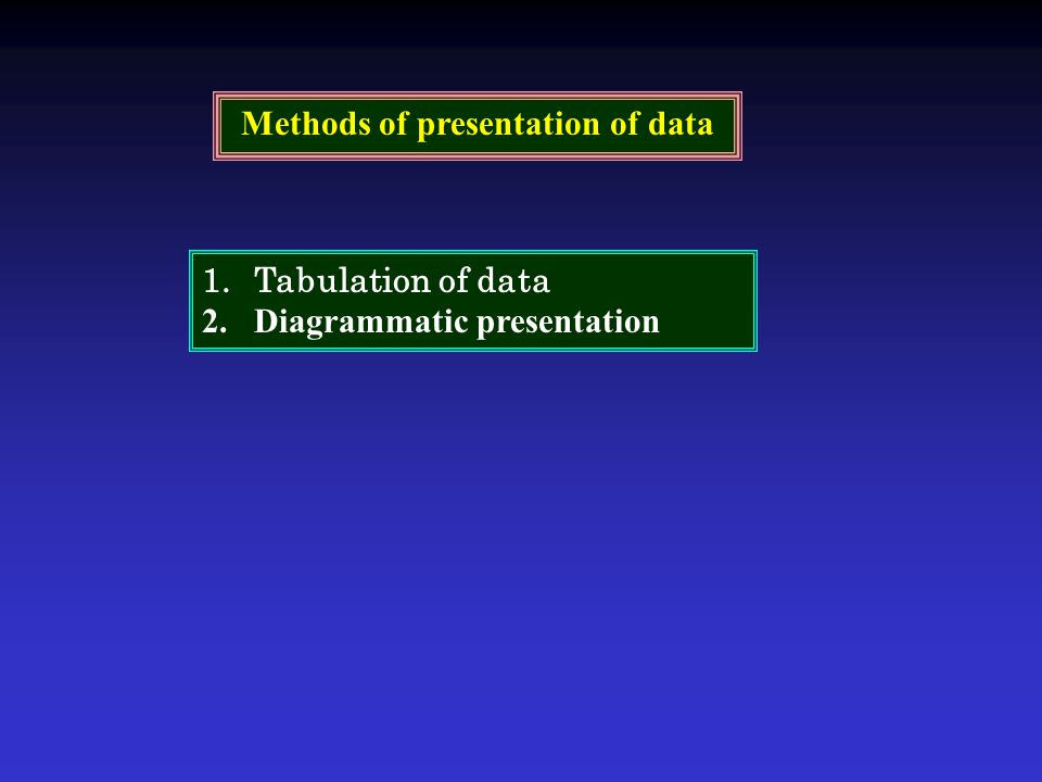 Methods of presentation of data