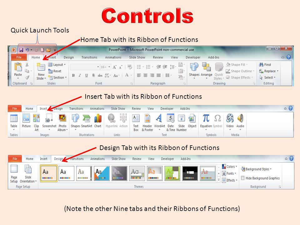 Controls Quick Launch Tools Home Tab with its Ribbon of Functions