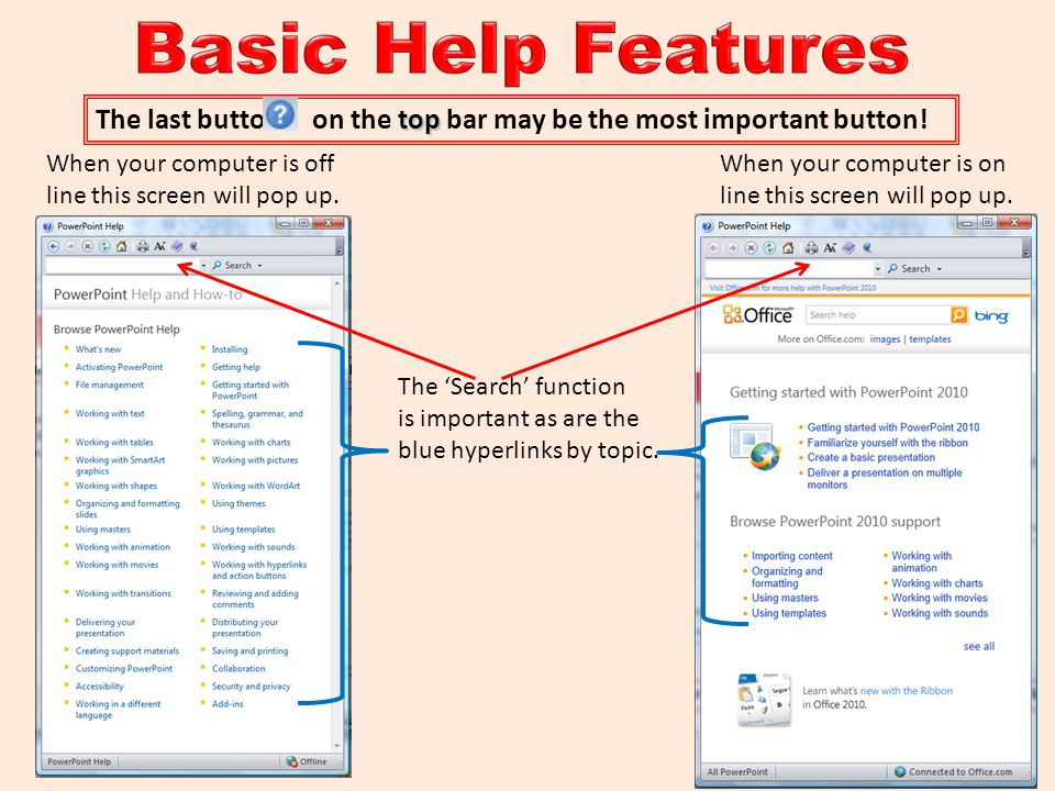 Basic Help Features The last button on the top bar may be the most important button! When your computer is off.