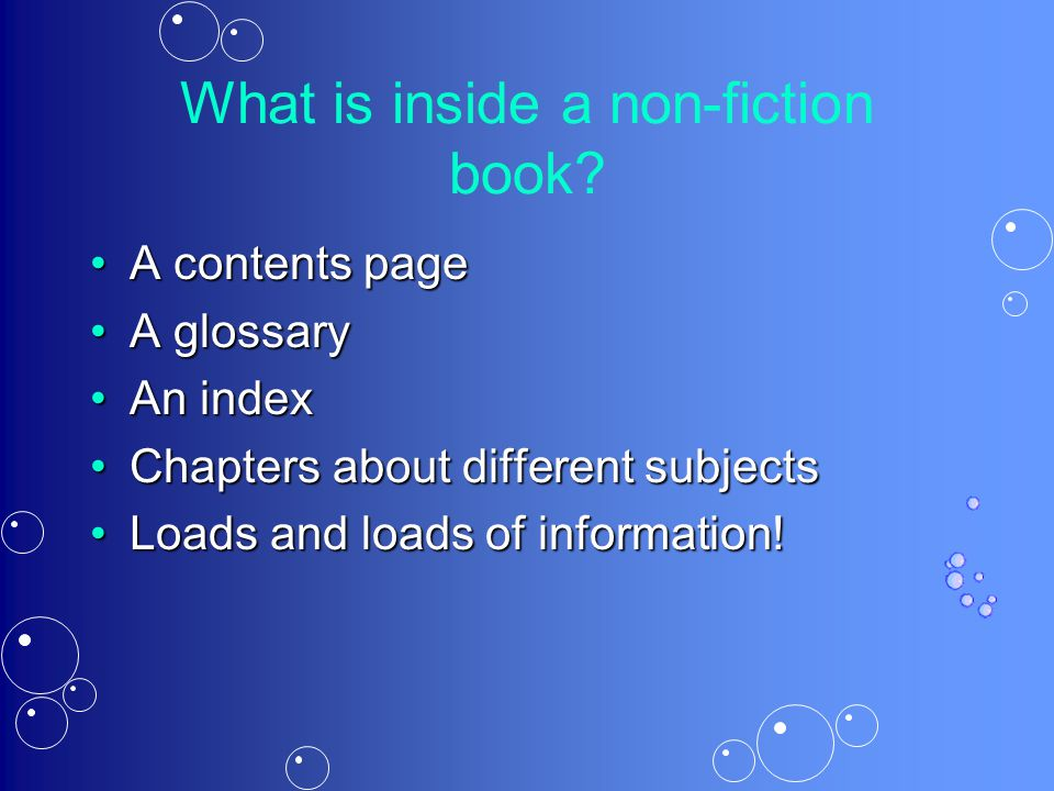What is inside a non-fiction book