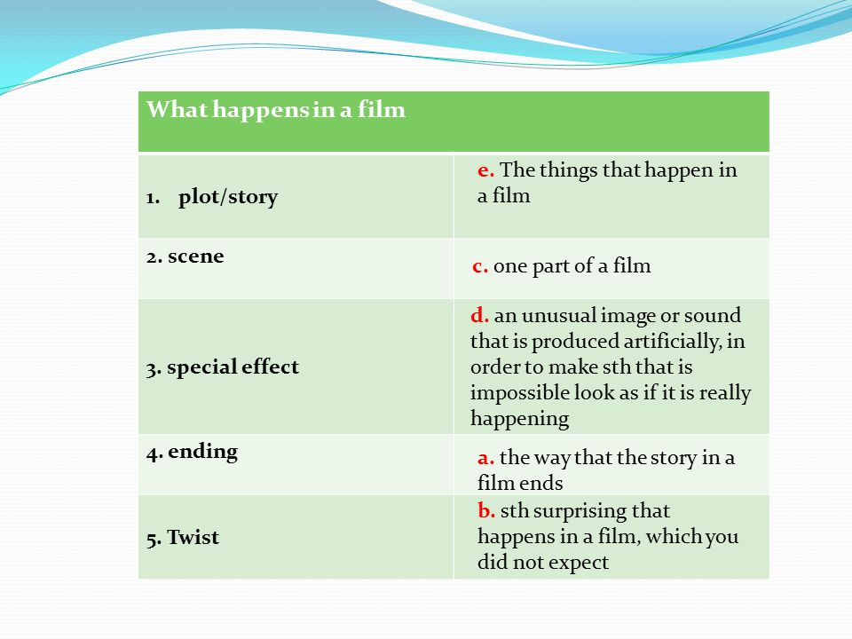 What happens in a film plot/story 2. scene