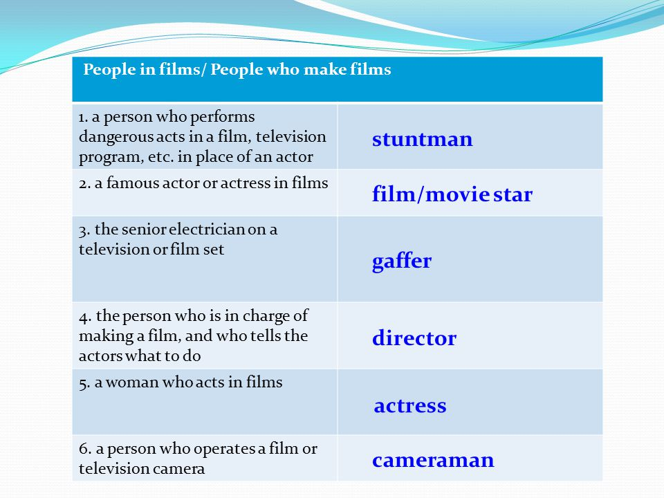 stuntman film/movie star gaffer director actress cameraman