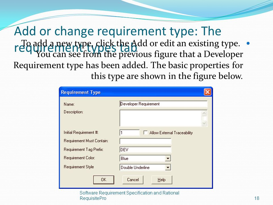 Add or change requirement type: The requirement types tab