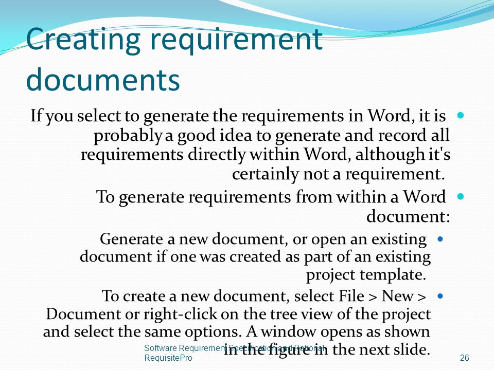 Creating requirement documents