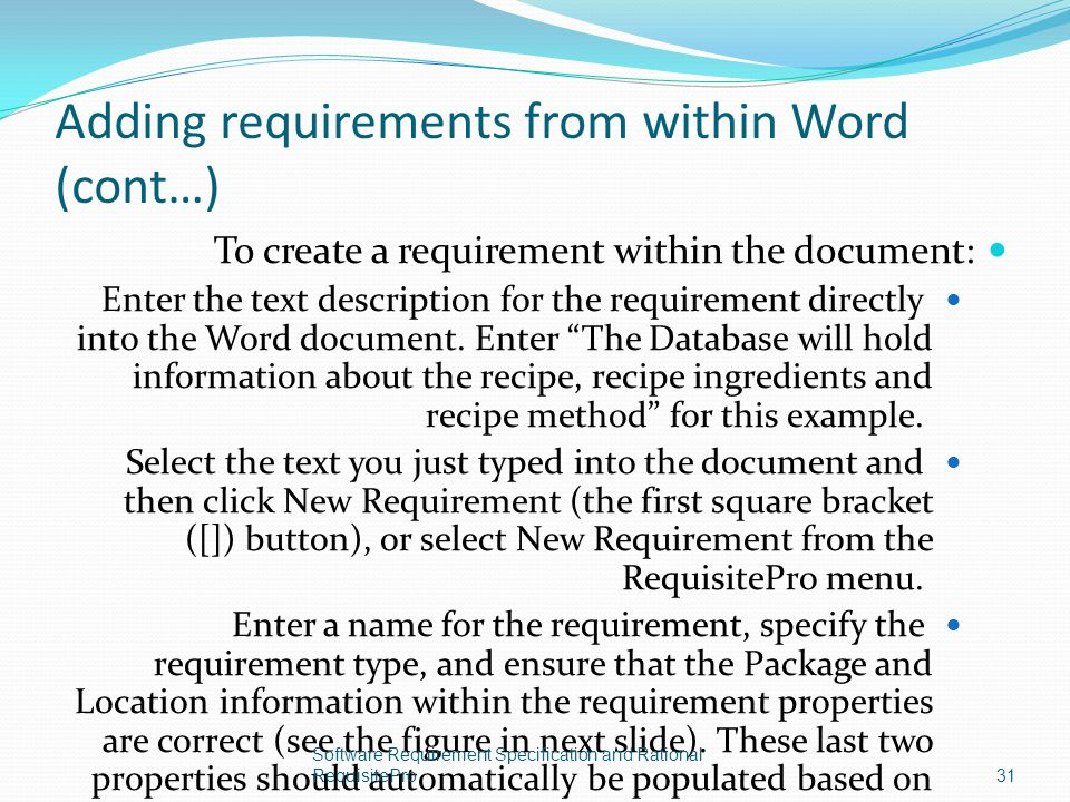 Adding requirements from within Word (cont…)