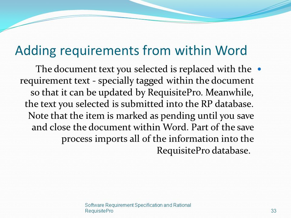 Adding requirements from within Word