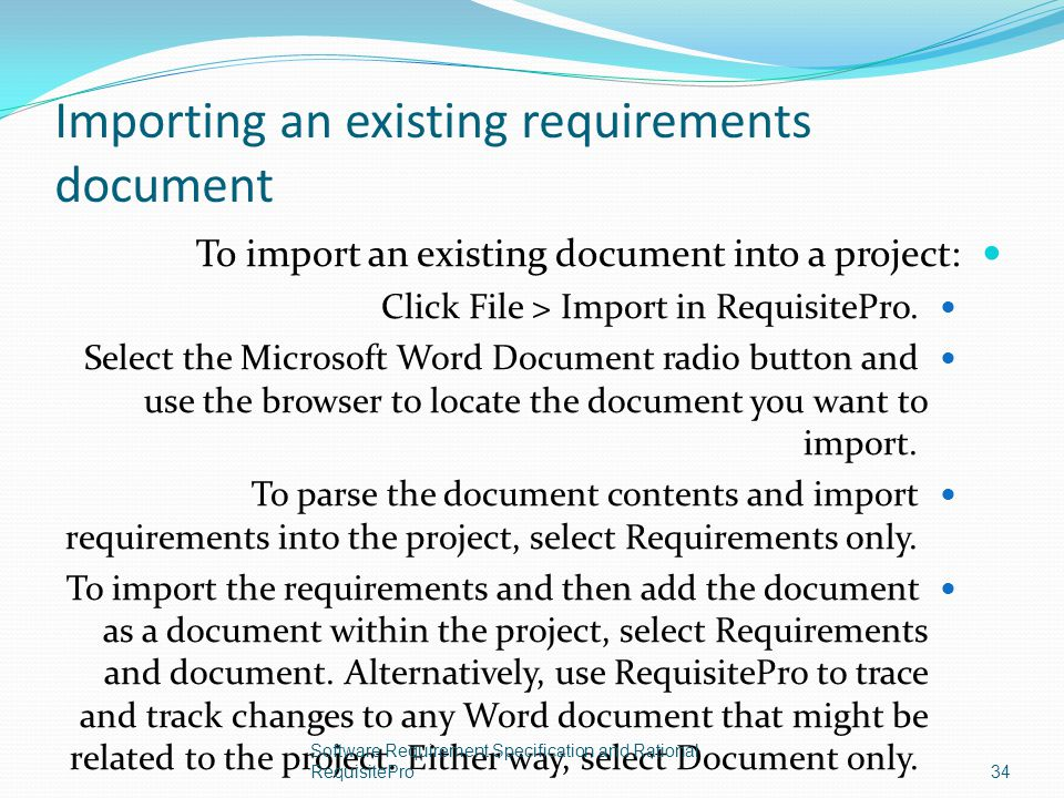Importing an existing requirements document