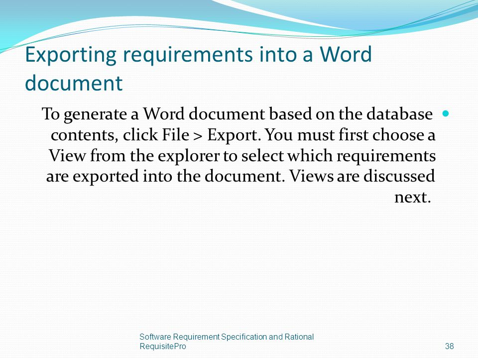 Exporting requirements into a Word document