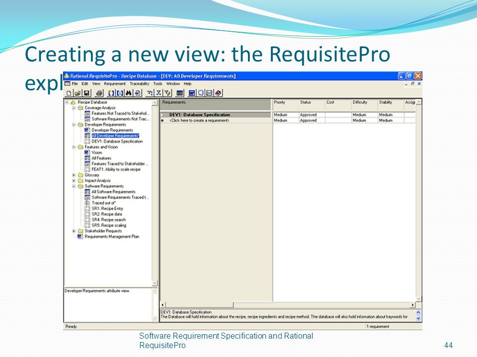 Creating a new view: the RequisitePro explorer