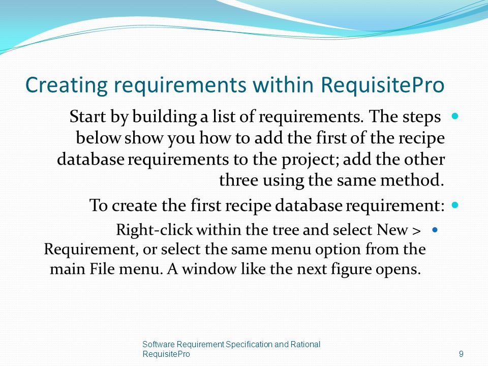 Creating requirements within RequisitePro